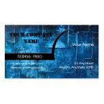 Tarjeta de visita azul de las placas de metal