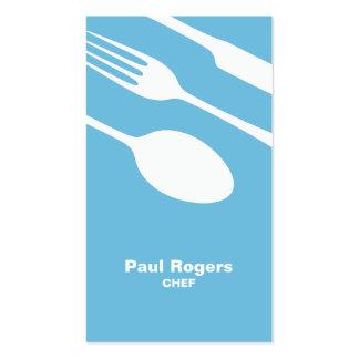 Tarjeta de visita azul de los cubiertos del cocine