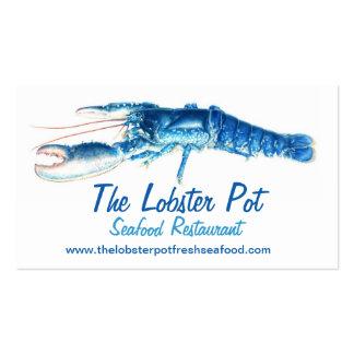 Tarjeta de visita azul de restaurante de los