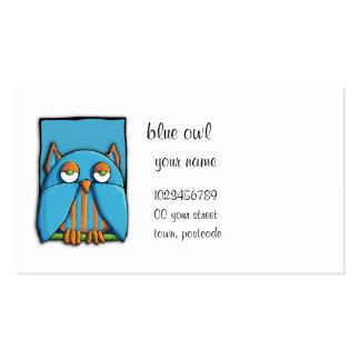 Tarjeta de visita azul del búho azul