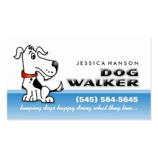Tarjeta de visita azul del caminante del perro y