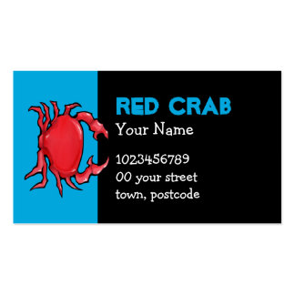 Tarjeta de visita azul del cangrejo rojo