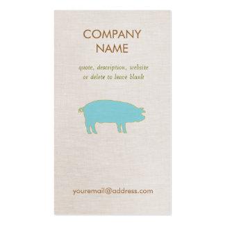 Tarjeta de visita azul del cerdo