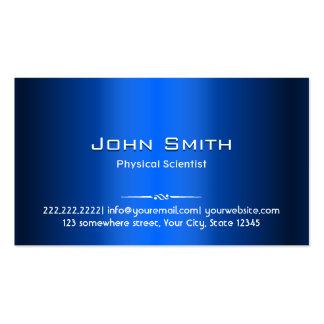 Tarjeta de visita azul del científico físico del m