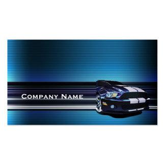 Tarjeta de visita azul del coche del mustango del