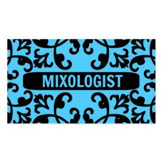 Tarjeta de visita azul del damasco del Mixologist