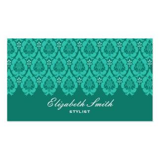 Tarjeta de visita azul del damasco floral bonito