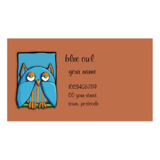 Tarjeta de visita azul del marrón azul del búho