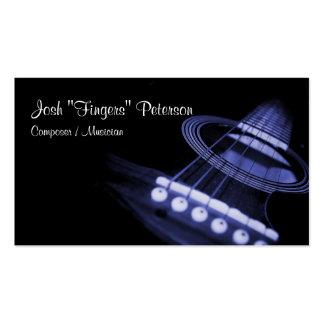 Tarjeta de visita azul del músico de la guitarra