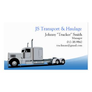 Tarjeta de visita azul del transporte del camión