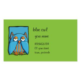 Tarjeta de visita azul del verde azul del búho