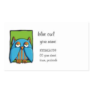 Tarjeta de visita azul del verde del búho