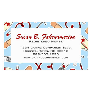Tarjeta de visita azul linda de la enfermera o del