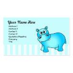 Tarjeta de visita azul linda del hipopótamo
