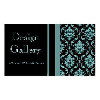 Tarjeta de visita azul negra elegante del damasco