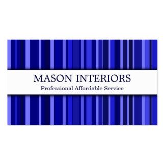 Tarjeta de visita azul profesional del interiorist