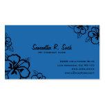 Tarjeta de visita azul y negra del hibisco