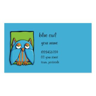 Tarjeta de visita azulverde del búho azul