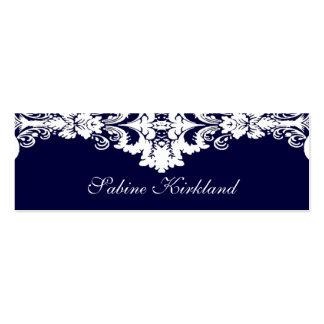 Tarjeta de visita barroca azul y blanca elegante