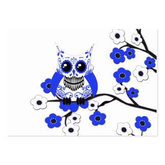 Tarjeta de visita blanca azul del búho de las flor