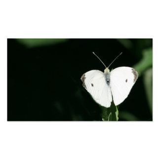 tarjeta de visita blanca de la mariposa