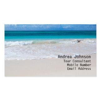 Tarjeta de visita blanca de la playa