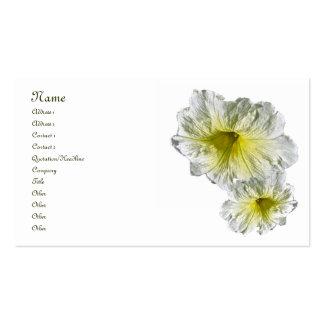Tarjeta de visita blanca de la serie de la petunia