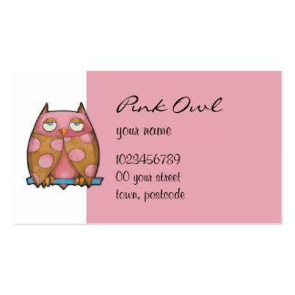 Tarjeta de visita blanca del búho rosado