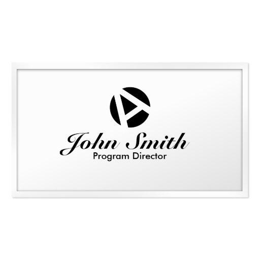 Tarjeta de visita blanca del director de programa