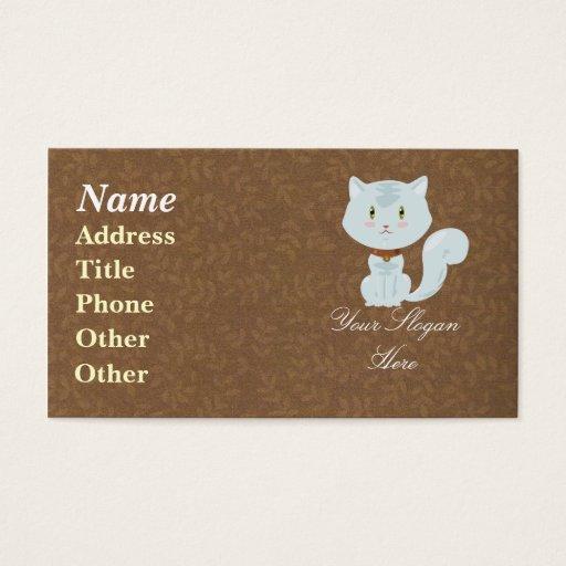 Tarjeta de visita blanca del gato
