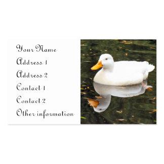 Tarjeta de visita blanca del pato