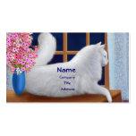Tarjeta de visita blanca elegante del gato