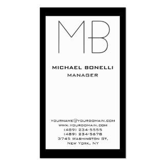 Tarjeta de visita blanca negra vertical del monogr