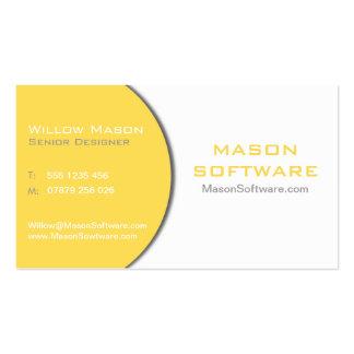 Tarjeta de visita blanca y amarilla de la tecnolog