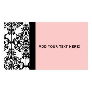 Tarjeta de visita blanca y rosada negra elegante