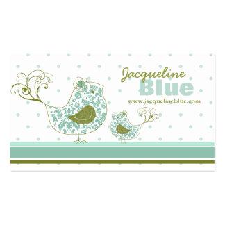 tarjeta de visita caprichosa azul de los pájaros d