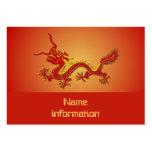 Tarjeta de visita china del dragón del rojo y del