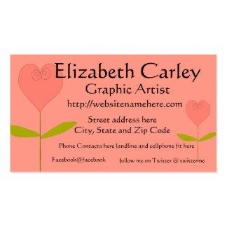 Tarjeta de visita color de rosa en forma de corazó