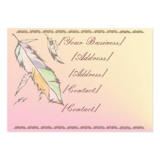 Tarjeta de visita coloreada suavidad de la pluma