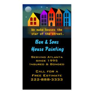 Tarjeta de visita colorida de las casas