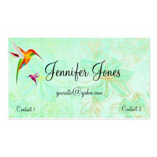 Tarjeta de visita colorida de los colibríes