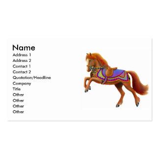 Tarjeta de visita colorida del caballo del circo