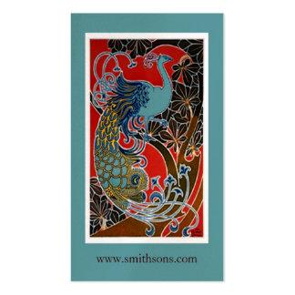 Tarjeta de visita colorida del pavo real del vinta