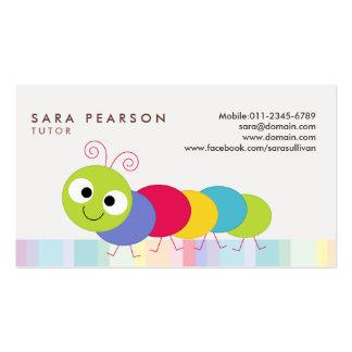 Tarjeta de visita colorida linda de Caterpillar