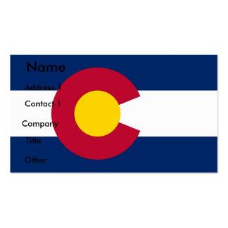 Tarjeta de visita con la bandera de Colorado los