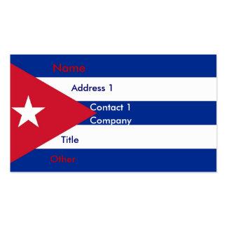 Tarjeta de visita con la bandera de Cuba