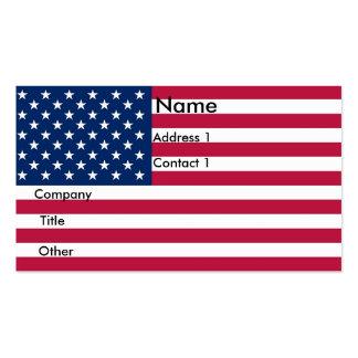Tarjeta de visita con la bandera de los E.E.U.U.