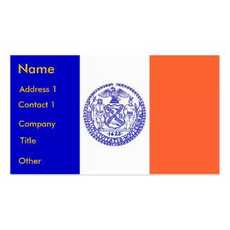 Tarjeta de visita con la bandera de Nueva York los