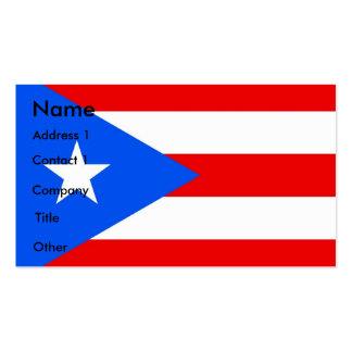 Tarjeta de visita con la bandera de Puerto Rico lo