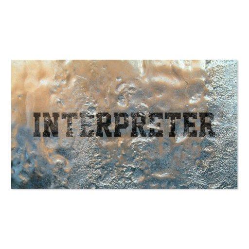 Tarjeta de visita congelada fresca del intérprete